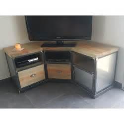 meuble tv d angle industriel en acier et pin massif