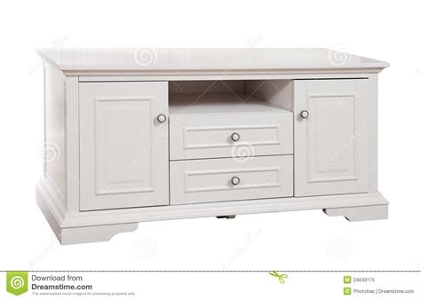 white wooden tv stand with clipping path royalty free