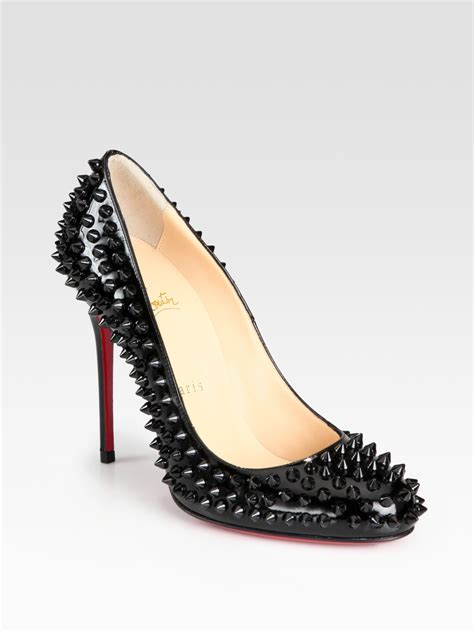 Christian Louboutin lyst christian louboutin fifi spiked patent leather pumps in black
