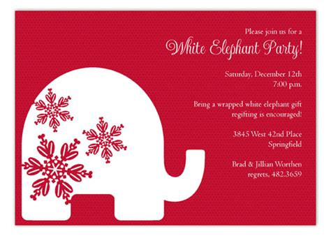 Red Background Trendy White Elephant Invitations Polka Dot Invitations White Elephant Invitations Templates