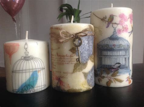 Decoupage Candles - birdcage decoupage candles beautiful candles home decor