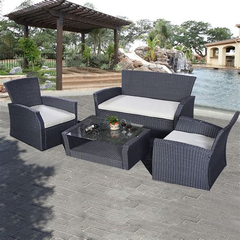 Goplus 4pcs Outdoor Patio Furniture Set Wicker Garden Lawn Wicker Patio Furniture Set