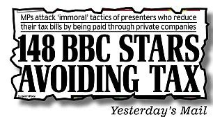 daily mail finance section revenue turning a blind eye to bbc tax avoiders mps