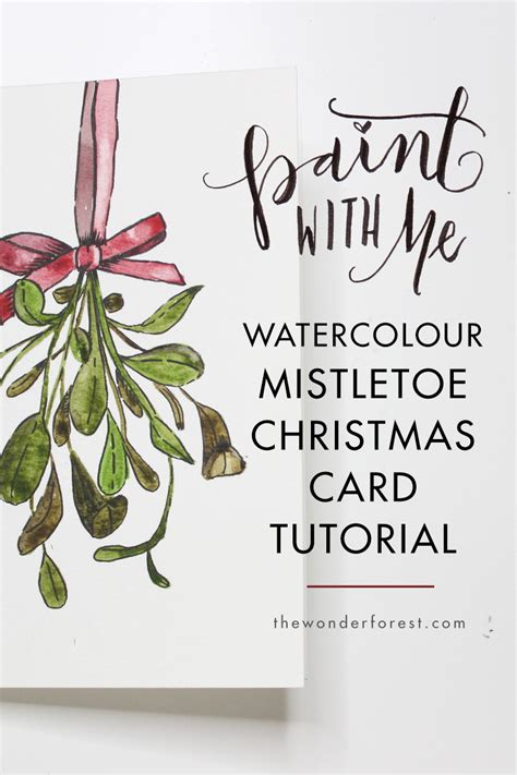 Watercolor Tutorial Christmas | paint with me mistletoe watercolour christmas card