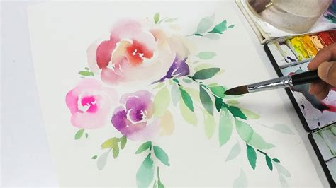 watercolor rose tutorial for beginners lvl2 watercolor flowers tutorial step by step youtube