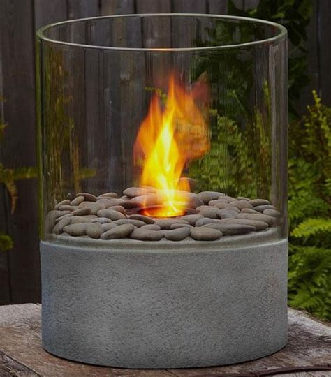 Small Outdoor Gas Pit Modesto Column Contemporary Tabletop Fireplaces