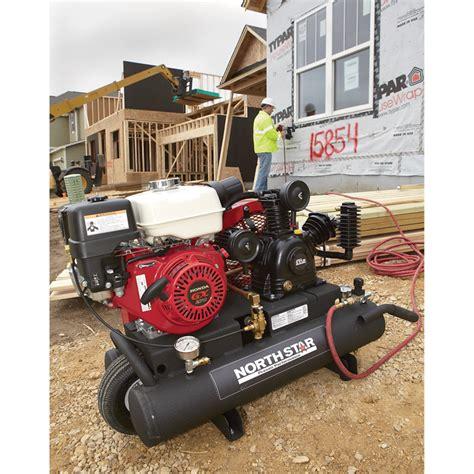 shipping northstar gas powered air compressor honda gx ohv engine  gallon twin