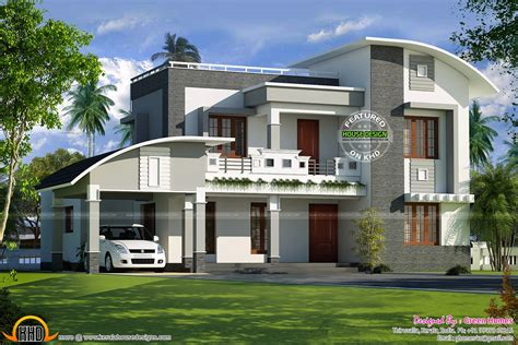 flat roof luxury home design kerala floor plans building arched roof plan curved roof flat roof house plan kerala