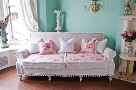 shabby chic slipcovered sofa shabby chic couch sofa cottage white pink antique vintage