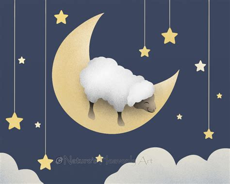 sheep childrens print baby nursery room decor moon and