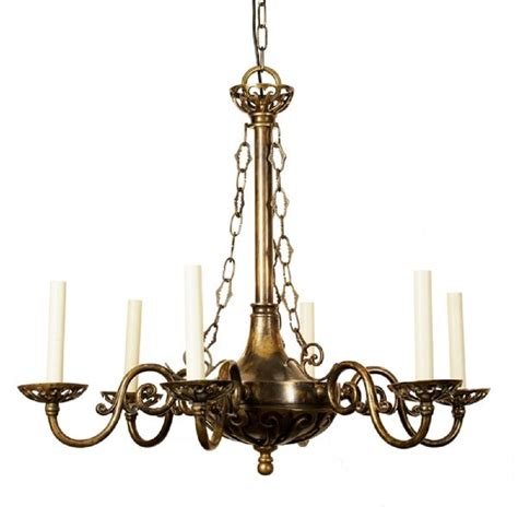 Antique Candle Chandelier Or Edwardian Period Hanging Chadelier With 6 Candle Lights