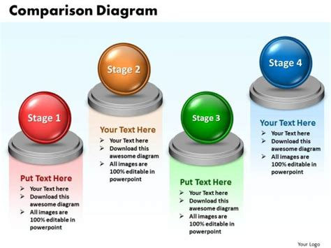 comparison powerpoint template ppt comparison network diagram powerpoint template 4 phase