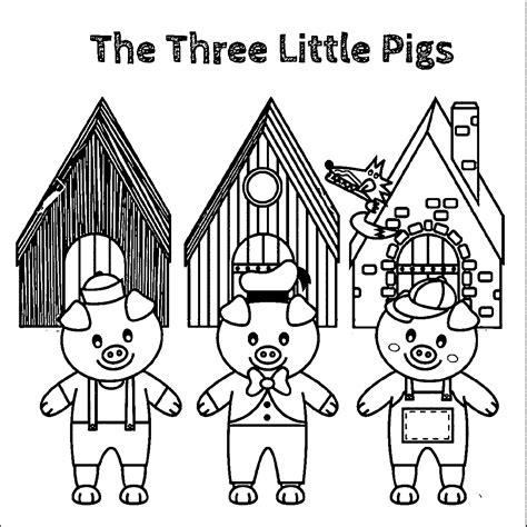 three little pigs houses coloring pages sketch coloring page