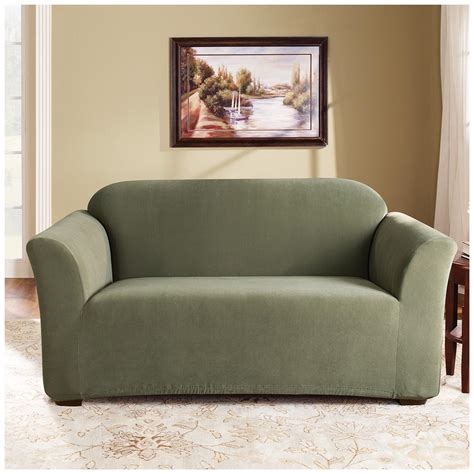 loveseat stretch slipcovers sure fit stretch loveseat slipcover with dark green color