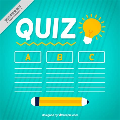 background quiz quiz background with pencil and three options vector
