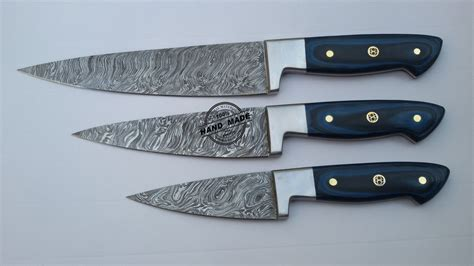 custom handmade damascus steel chef kitchen knife with lot of 3 pcs damascus kitchen chef s knife custom handmade