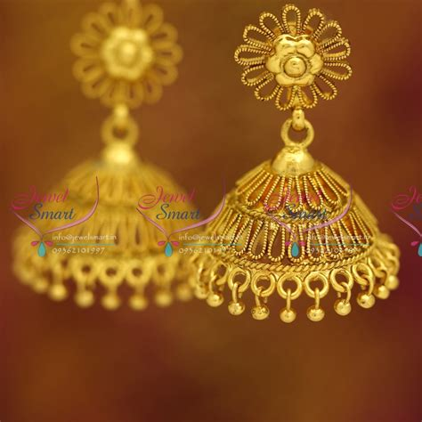gold jhumka earrings design with price j3665 antique gold plated nagas stylish sprial design