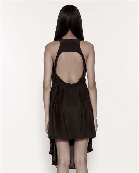 harness dress black draped harness dress news masc s ready to wear
