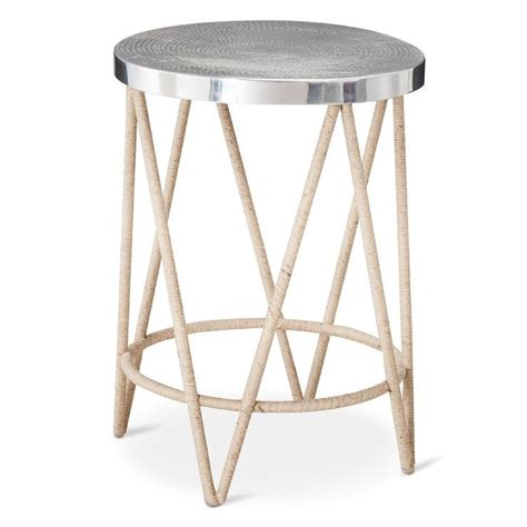 Metal Accent Table Threshold Rope Wrapped Accent Table With Silver Hammered Metal Top