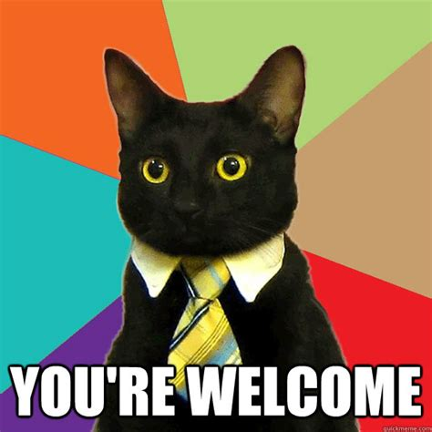 Office Cat Meme - you re welcome business cat quickmeme