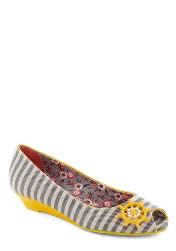 Poetic License Stripe Toe Shoes by Poetic License Whatever Floats Your Boat Wedge Mod Retro