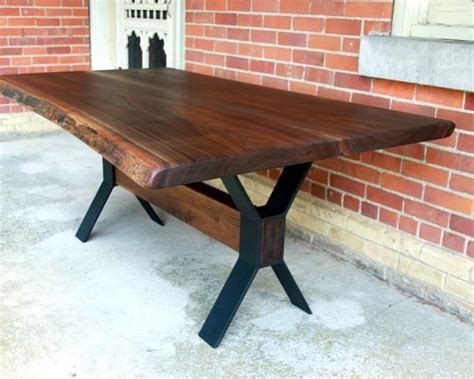 Cheap Bathroom Decorating Ideas salvaged live edge walnut dining table with metal base