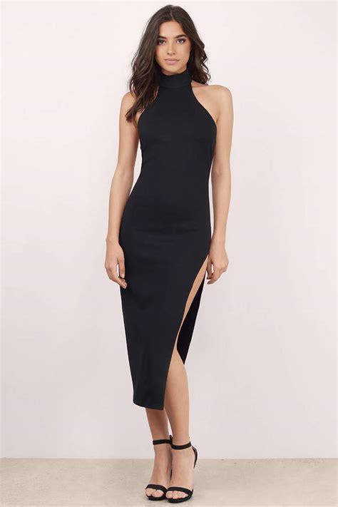 Slit Midi Dress by Black Midi Dress Black Dress High Slit Dress
