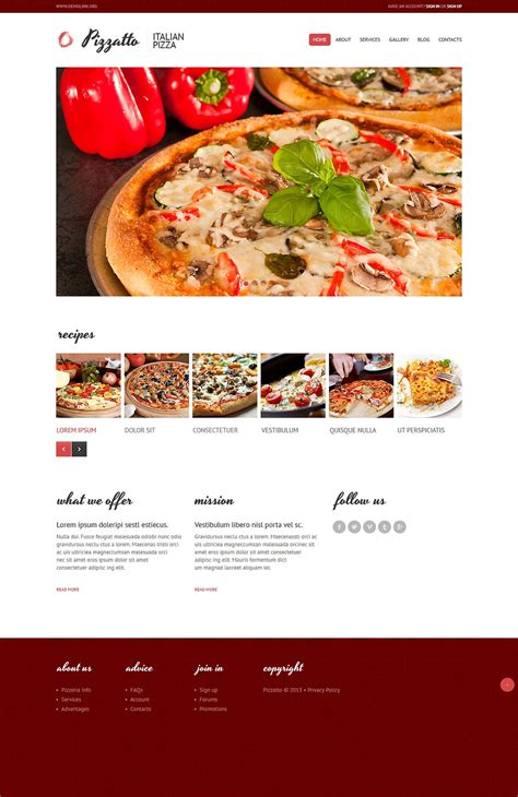 templates for pizza website free premium cafe and restaurant joomla template food