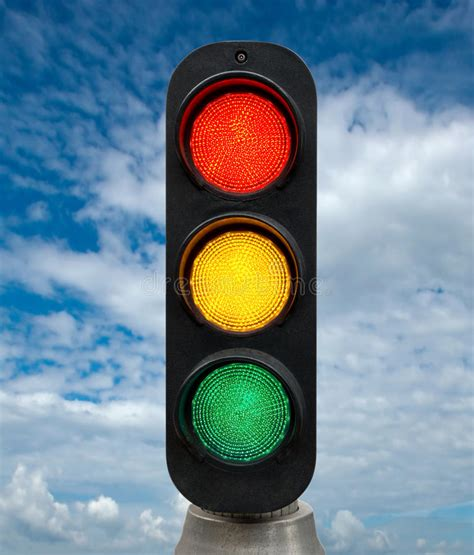 blue lights on traffic signals red yellow and green traffic lights stock photo image