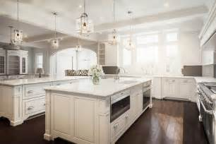 Kitchens With Two Islands by White And Brown Kitchen With Two Islands Transitional