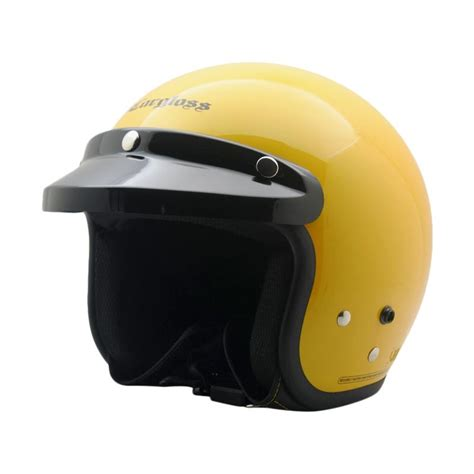 Helm Cargloss Retro Pet jual cargloss retro helm half excotic yellow glossy