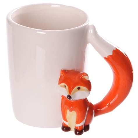fox mug ceramic novelty fox shaped handle mug