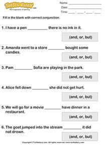 fill in the blanks using conjunctions turtlediary com
