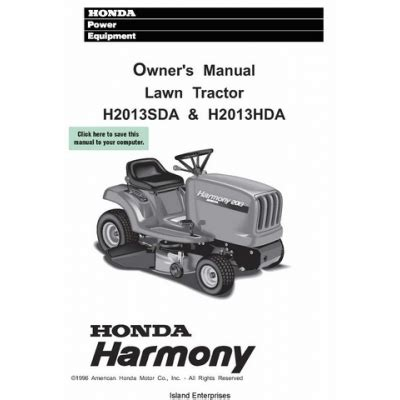 honda harmony lawn tractor h2013sda amp h2013hda owner s