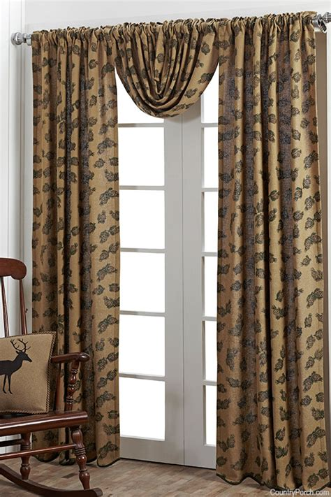 pine cone curtains pine cone printed burlap balloon curtain valance