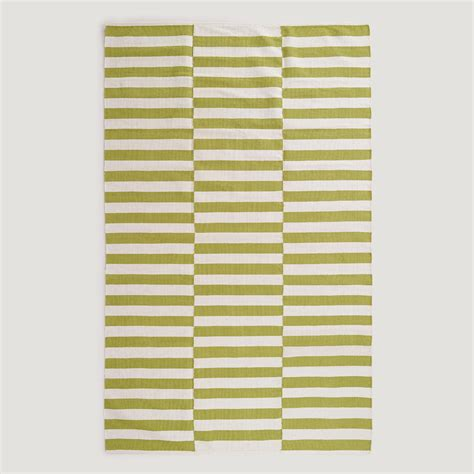 green and white striped rug green and white stripe dhurrie rug world market