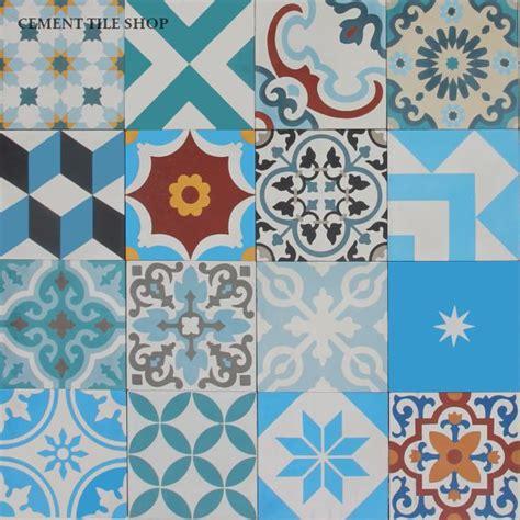 Patchwork Cement Tile - kitchen backsplash cement tile shop