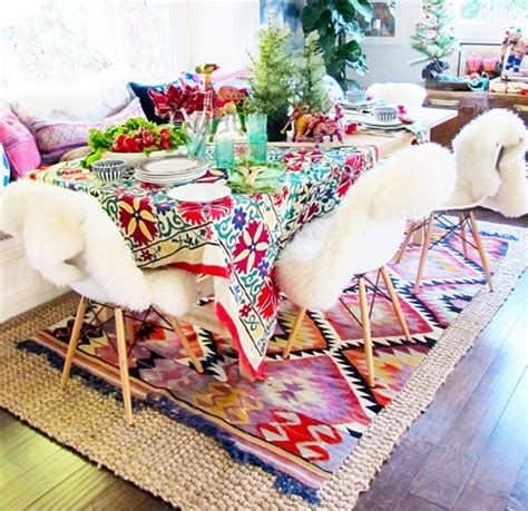pink aztec rug colorful table setting aztec kilim rug sheepskin chairs pink teal yellow dining