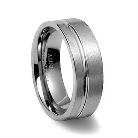 brushed tungsten wedding band with offset channel