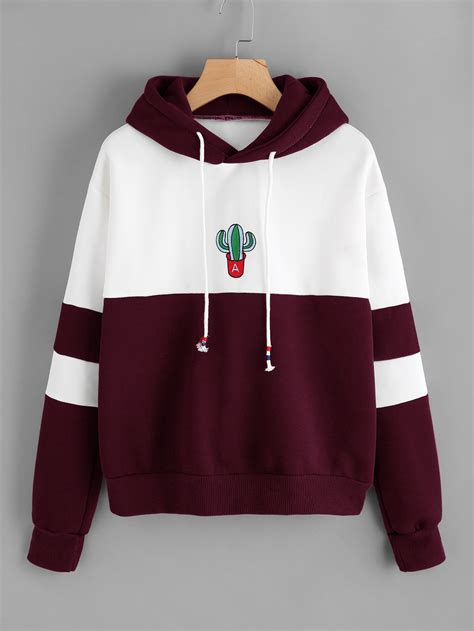Embroidered Color Block Hoodie by Color Block Cactus Embroidered Hoodie Shein Sheinside