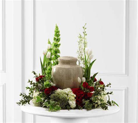 table arrangement garden style floral arrangement for cremation urn memorial