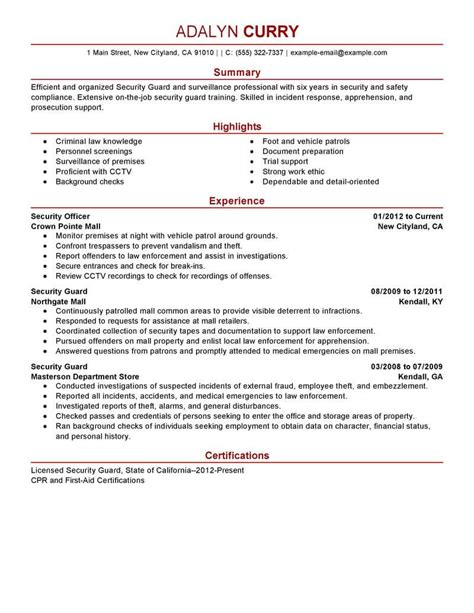 exle of security guard resume best security guard resume exle livecareer