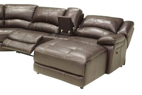 Mahogany Full Leather Contemporary Reclining 6pc Sectional
