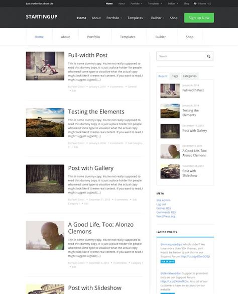 layout for blog startingup theme review wpzoom read this