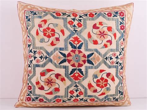 uzbek vintage suzani handmade embroidery embroidery pinterest 19x18 vintage hand embroidered uzbek suzani pillow all