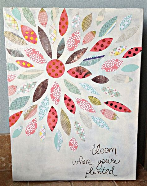 Crafts To Do With Scrapbook Paper - 25 best ideas about flower canvas on flower