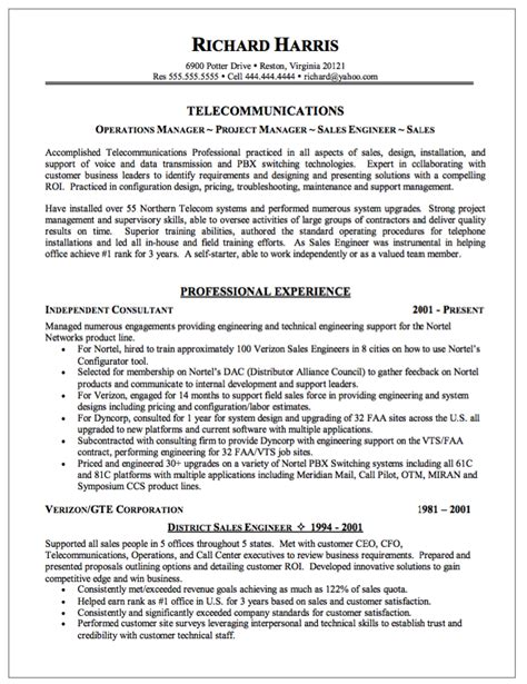 Telecommunications Resume by Sle Of Telecommunication Resume Http Resumesdesign