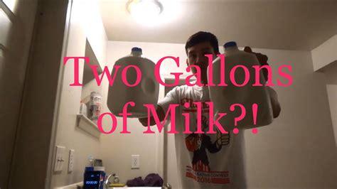 milk gallon challenge two gallon milk challenge chugs two gallons of milk