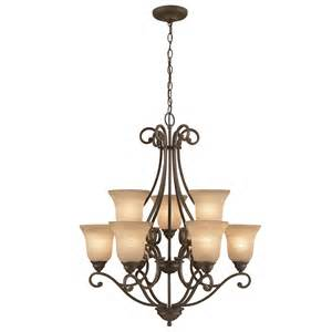 Iron Lighting Chandeliers Shop Portfolio Linkhorn 9 Light Iron Chandelier At