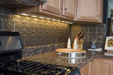 pressed tin backsplash new leaf kitchen reconstruction